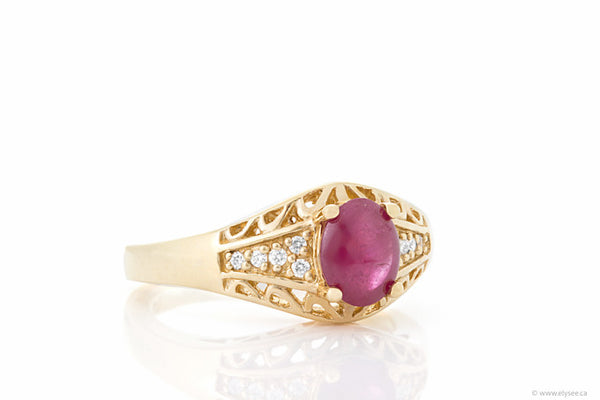 14K Yellow Gold, Cabochon Ruby & Diamond Ring Montreal jewellery designer