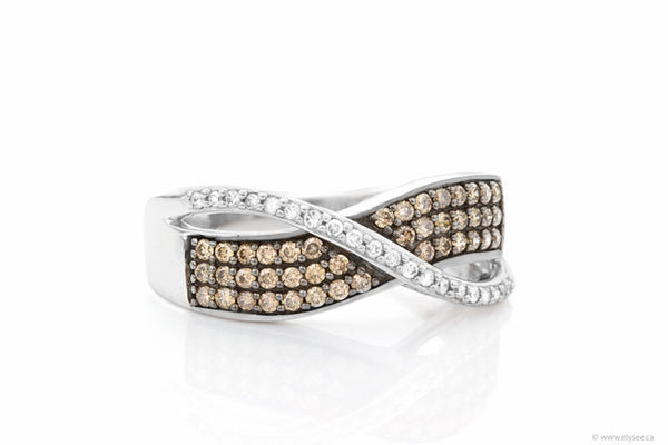 10K White gold ring set with white and champagne diamonds. Montreal jewellery designer www.elysee.ca