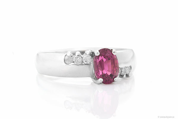 14K White gold diamond and tourmaline ring.Montreal jewelry designer.