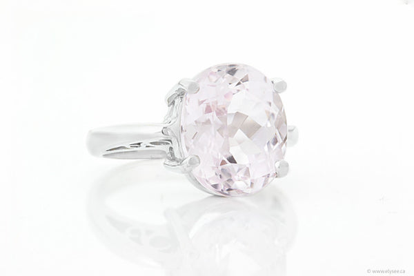 14K White gold and kunzite ring.