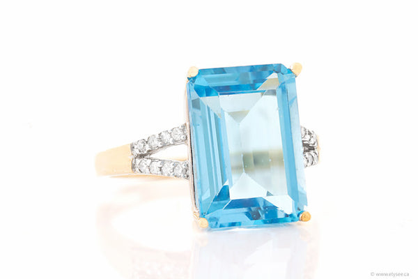 10K Yellow gold, blue topaz and diamond ring. Montreal jewellery designer