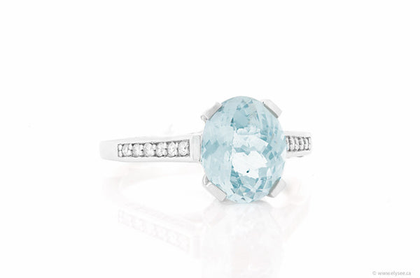 14K White Gold Aquamarine & Diamond Ring Montreal jewellery designer www.elysee.ca