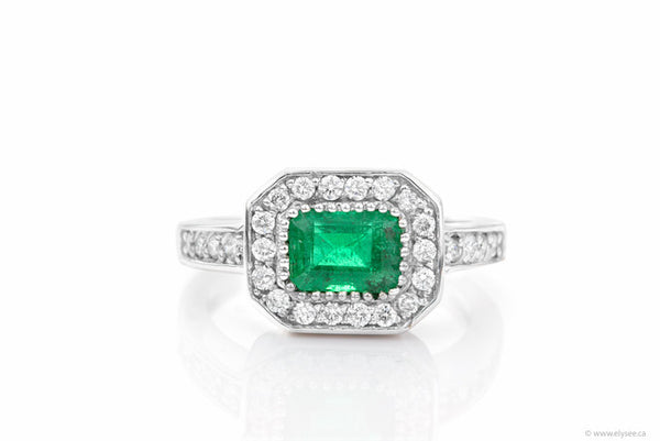 14K White gold, diamond and green Colombia emerald ring Montreal jewellery designer