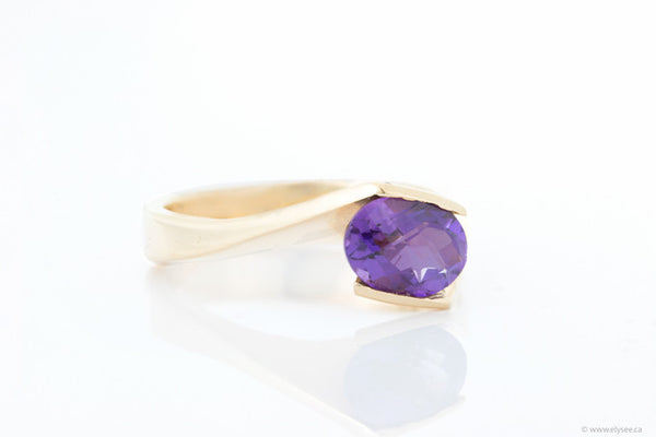 14K Yellow gold and amethyst ring Montreal jewellery designer