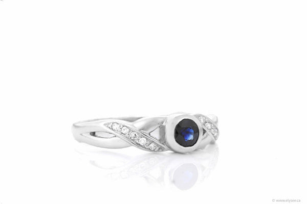 14K White gold diamond and sapphire ring. Montreal jewellery designer/gemstone dealer