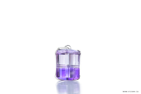 BICOLOUR AMETHYST AND QUARTZ PENDANT IN 14K WHITE GOLD