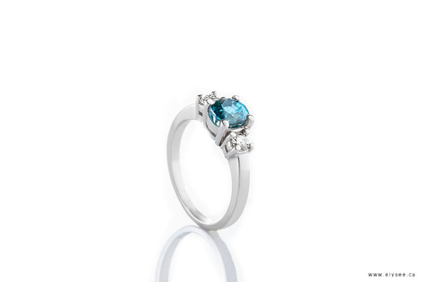 14K White gold blue zircon and diamond ring Montreal jewellery designer
