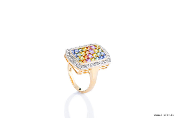 14K Yellow gold diamonds and fancy sapphire ring. Fancy sapphires montreal www.elysee.ca