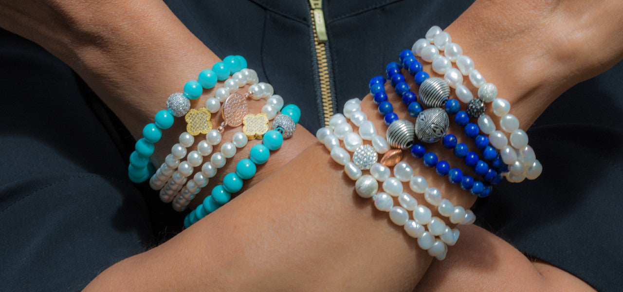Assortment of Pearl, Turquoise, Lapis Bead Bracelets