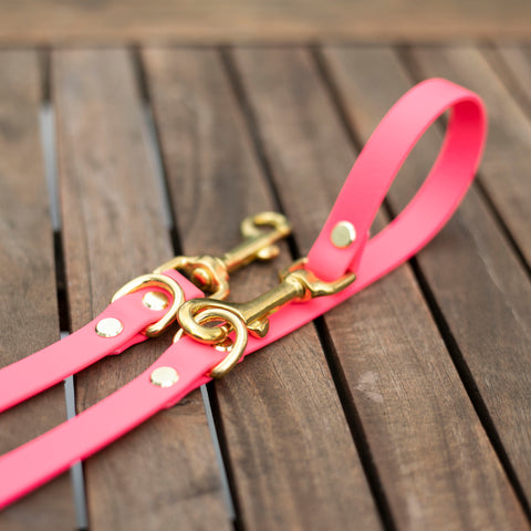 Brass and Pink multi leash for dogs. Waterproof and rustproof
