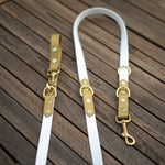 white and gold multi dog leash australian made.