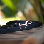 Beta Biothane leash in black and rose gold. Rolled up on a table. Australian made