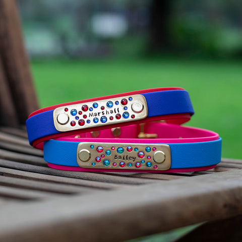 Dual Layer Biothane Dog Collar Australia. Top strap is attached to the bottom layer via chicago screws or rivets.