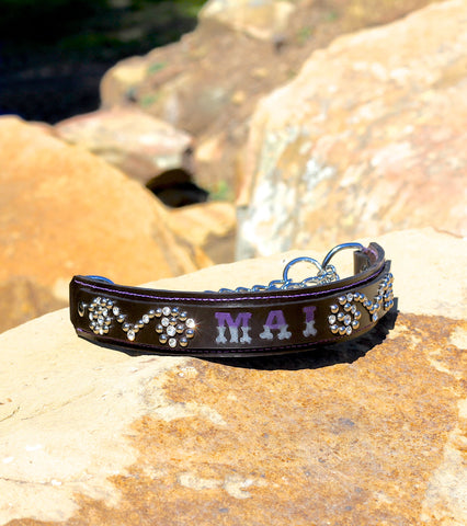 "1.5"" Wide Custom Name with Studs & Stones Leather Martingale Collar"