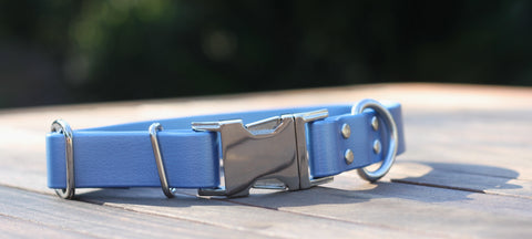 Blue and Silver dog collar PVC Biothane