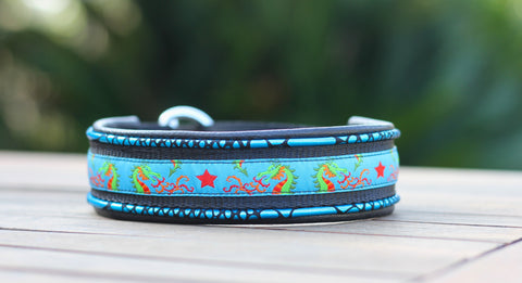 Blue Dragon Padded Leather dog Collar