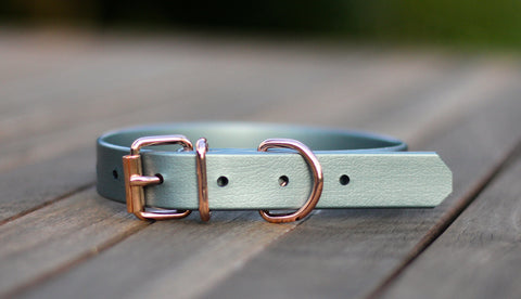 Small tiny dog collar biothane rose gold