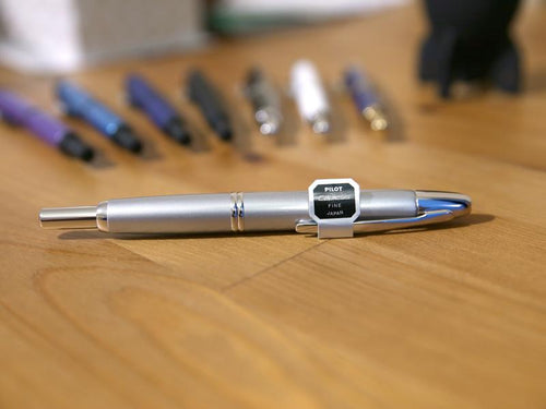 Pilot Capless aka Vanishing Point Fountain Pen - Silver - with Diamine Ink Bottle - BDpens