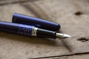 Pilot Metropolitan Blue Leopard Fountain Pen with Diamine Ink Bottle