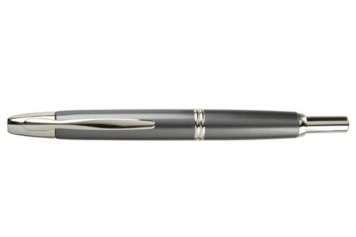 Pilot Capless aka Vanishing Point Fountain Pen - Dark Grey/Silver - with Diamine Ink Bottle - BDpens