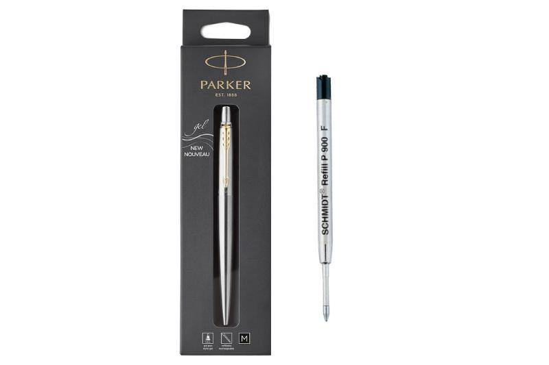 Parker Jotter Gel Pen Stainless Steel with Gold Trim M - Made in France - With extra refill - BDpens