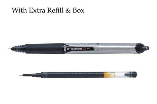 Pilot Hi-Tecpoint V5 RT Rollerball pen with extra Refill and Box