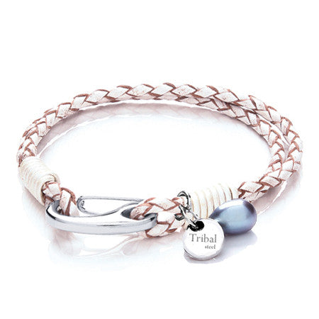 White Tribal Steel Bracelet with Charms