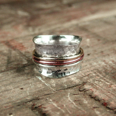 Hammered Sterling Silver Ring with Tri Bands