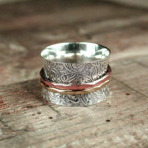 Floral Lace Band with Copper and Gold