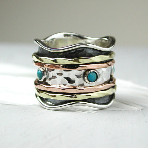 Sterling Silver Wide Band Spinning Ring