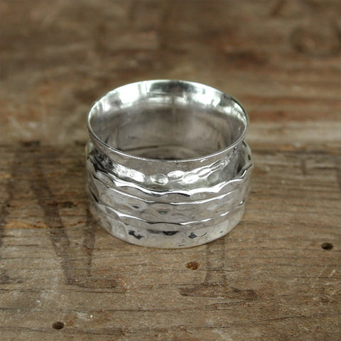 Sterling Silver Hammered Ring with 3 Silver Bands