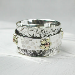 Sterling Silver Spinning Daisy Ring