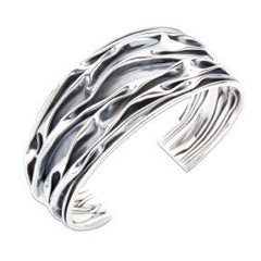 Oxdised Sterling Silver Crushed Cuff Bracelet