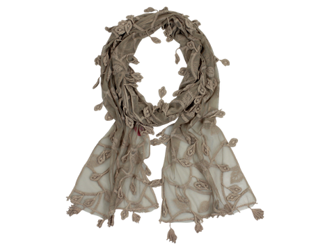 Mocca lace scarf with beautiful leaf detail