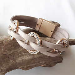 Leather Matt Gold and Taupe Bracelet