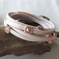 Pink Leather Wrap Bracelet with Crystal detail