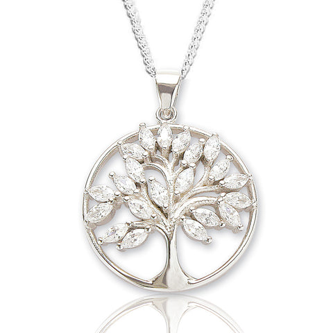 CZ encrusted Tree of Life necklace
