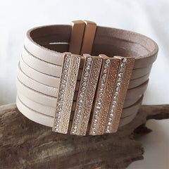 Matt Gold and Taupe Crystal Bracelet