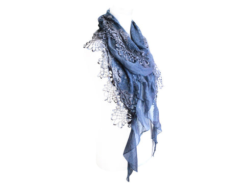 Beautiful Blue Mohair and Lace Scarf