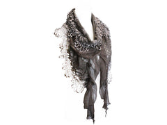 Beautiful Chocolate Mohair and Lace Scarf