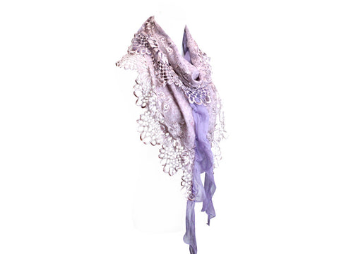 Beautiful Pink Mohair and Lace Scarf
