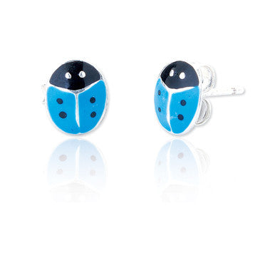 Blue Lady Bird Sterling Silver Studs