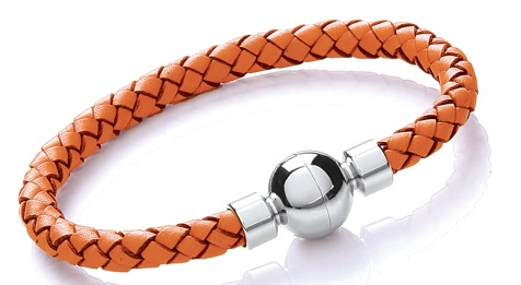 Orange Tribal Leather Bracelet