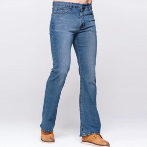 Mens Slim Boot Cut Jeans Classic Stretch Denim