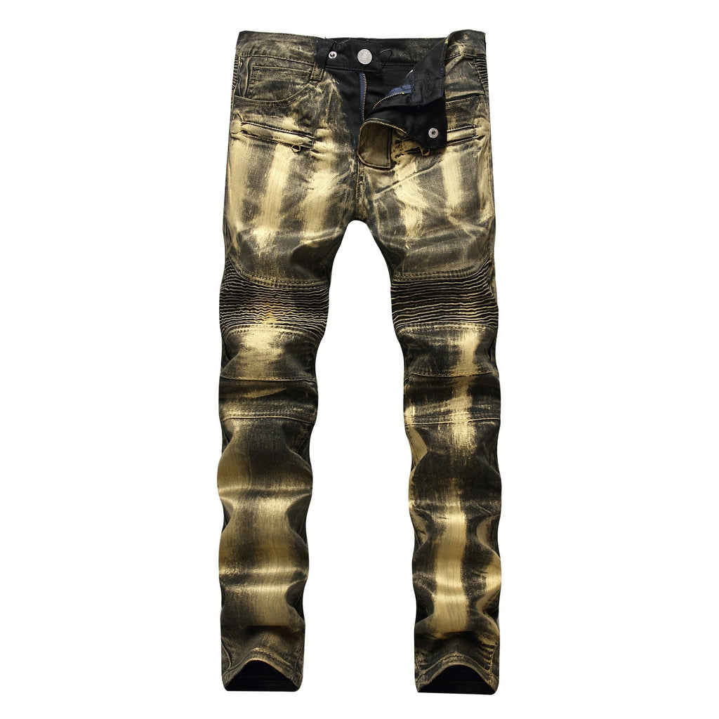 Men Motorcycle Biker Jeans Slim Fit Moto Jeans
