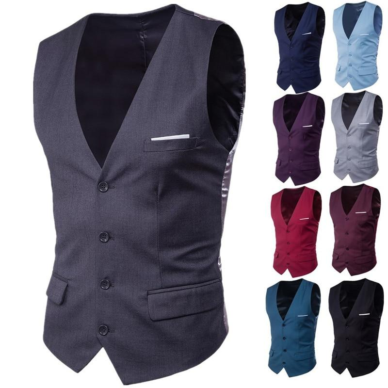 9 Color Men's Business Casual Slim Vests Fashion Men Solid Color