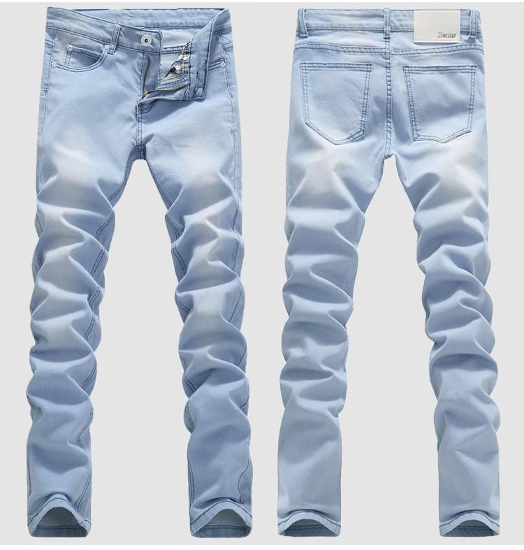 Blue Skinny Jeans Men Spring Summer Stretch Slim Jean