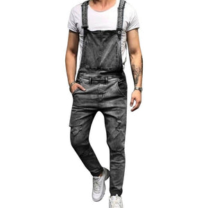 Sexy Ripped Jeans Jumpsuit Men Fashion Solid