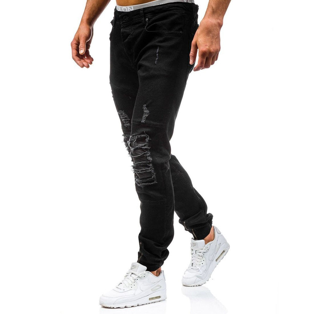 Mens Distressed Ripped Biker Slim Fit Jeans