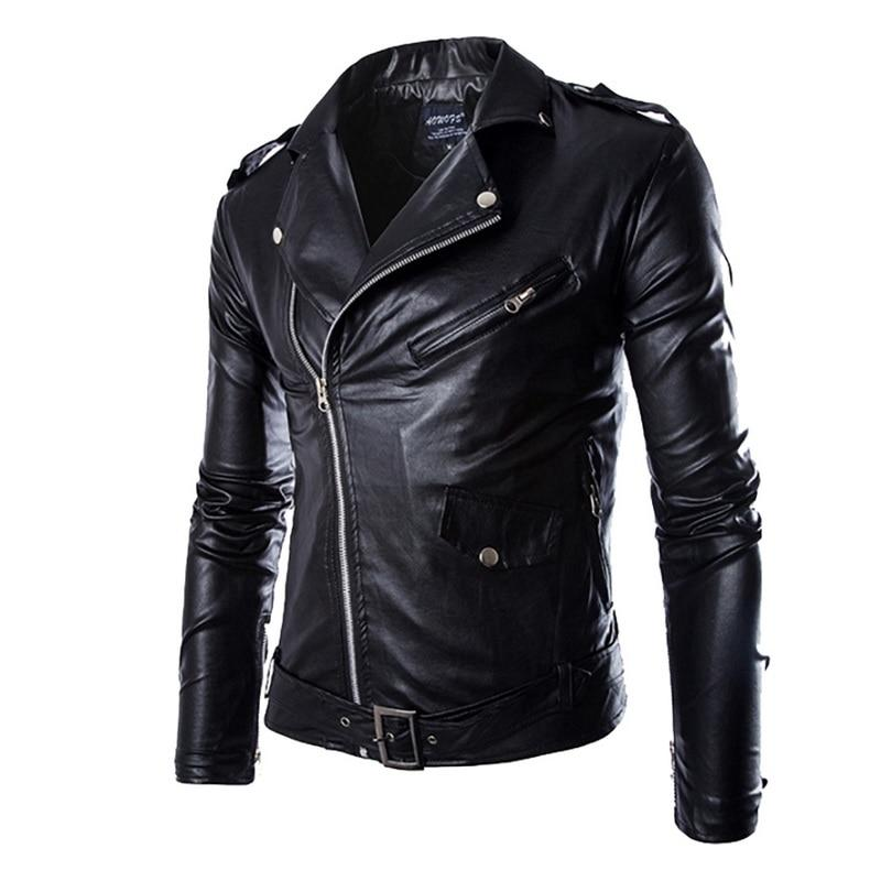 Brand PU Leather Jacket Men Autumn Casual Zipper Mens Motorcycle Leather